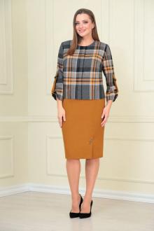 жакет,  юбка VOLNA 1207 горчично-серый
