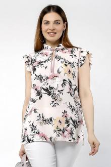 Блуза La rouge 6188 розовый-(цветы)