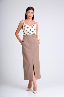 юбка SandyNa 130201 серо-коричневый