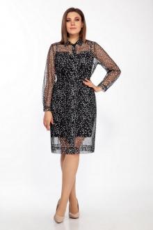 Платье LaKona 1414 черно-белый+черный