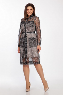 Платье LaKona 1414 черно-белый+бежевый