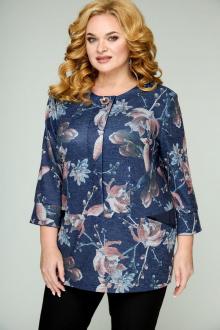 Блуза БАГРЯНИЦА 2040 синяя_в_цветы