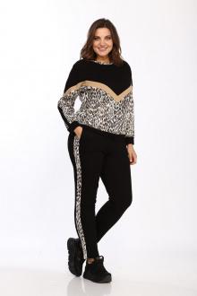 Спортивный костюм Lady Style Classic 1753/1 черно-бежевый_леопард