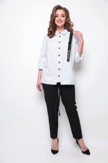 блуза,  брюки Michel chic 1269 белый/черный/клетка