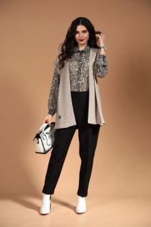 блуза,  брюки,  жилет Твой имидж 1451 серый+черный