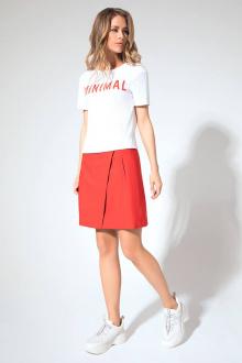 блуза,  юбка LaVeLa L2402 белый/красный