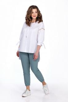 блуза,  брюки TEZA 164 белый+мох