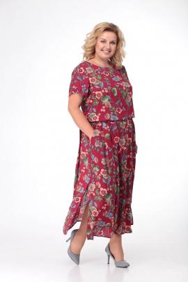 Платье LadisLine 1089 бордо+цветы