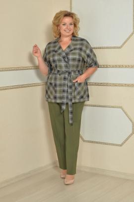 Женский костюм Lady Style Classic 1403 зеленый-клетка