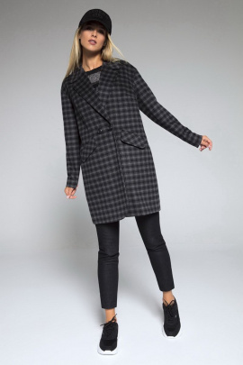 Пальто LaVeLa L70012 черный/клетка