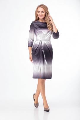 Платье Anelli 785 серо-белый