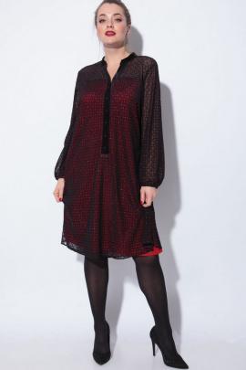 Платье SOVA 11048  черно-красный