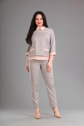 Женский костюм Lady Style Classic 1393 серый-розовый
