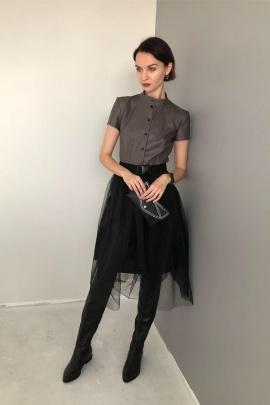 Платье Sisters Solonko 1085 коричневый+черный