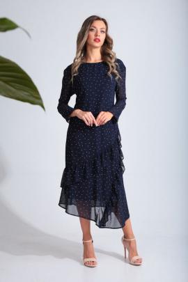 Платье SandyNa 13675 синий_горох