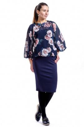 Блуза Nat Max ШБЛ-0122-14 т.синий/розы