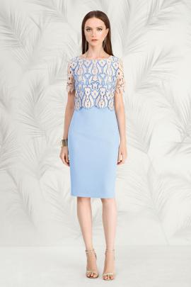 Платье Nelva 5795 бежевый/голубой