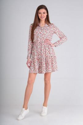 Платье Lady Line 473 белый+розовый