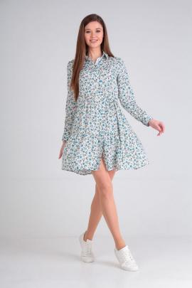 Платье Lady Line 473 белый+голубой
