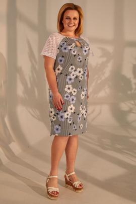 Платье Golden Valley 4388 полоска+голубые.цветы
