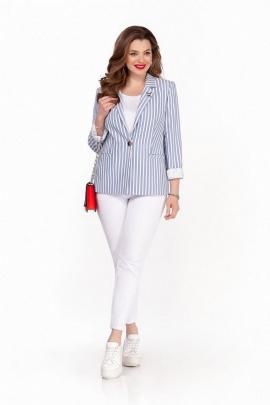 Женский костюм TEZA 1254 голубой-белый