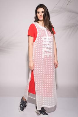 Платье, Накидка Faufilure outlet С732 белый+малиновый