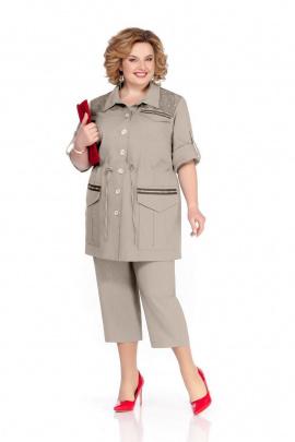 Женский костюм Pretty 1062 серо-бежевый