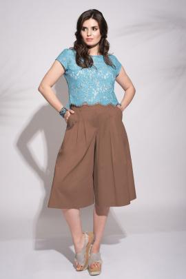 Брюки, Блуза Faufilure outlet С734 коричневый+голубой