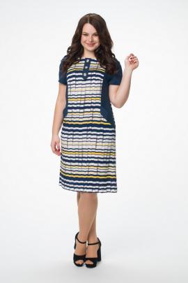 Платье Melissena 805 синий-белый-желтый