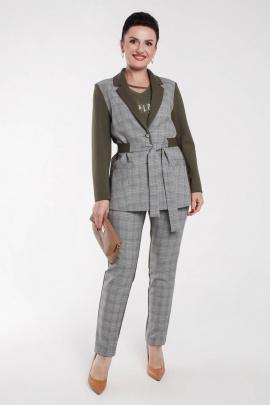 Женский костюм Дорофея 607 хаки,серый