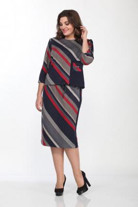 Юбка, Джемпер Lady Style Classic 2110/1 темно-синий_красный
