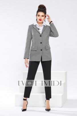 Женский костюм Твой имидж 1326 серый-черный-белый