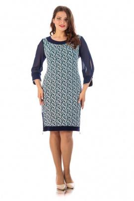 Платье,Брошь Almila-Lux 1020 сине-зеленый