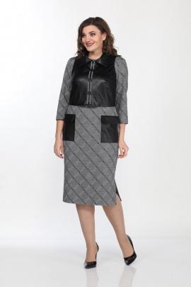 Платье, Жилет Lady Style Classic 1935/2 серый-черный
