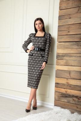 Платье SandyNa 13901 серо-черный