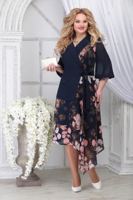 Платье Ninele 5821 синий_цветы