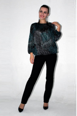 Блуза Arisha 2027 серо-бирюзовый