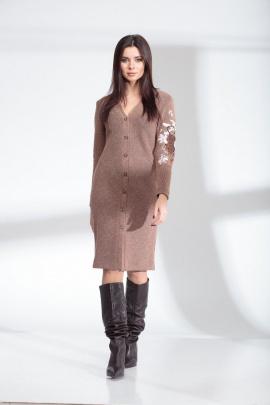 Платье SandyNa 13914 серо-розовый