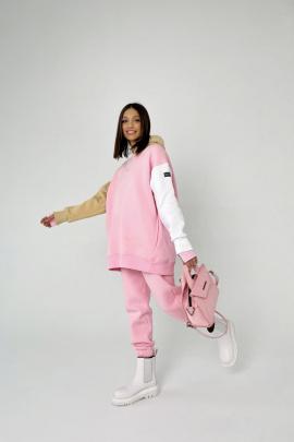 Худи Rawwwr clothing 127 розовый-белый-бежевый