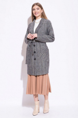 Пальто ElectraStyle 3-7007/14-09 черно-белый