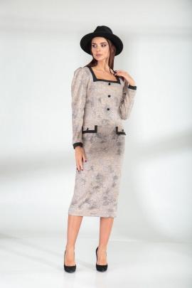 Платье SandyNa 13901 пудра-черный