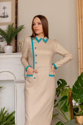 Платье Temper 358 оранжевый+бирюза