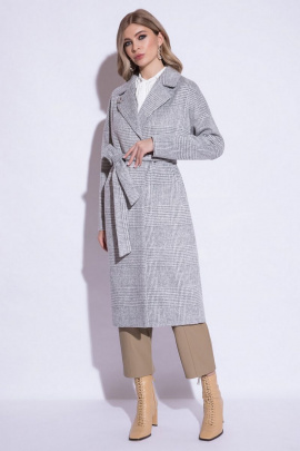 Пальто ElectraStyle 4-7038/15-013 серо-белый