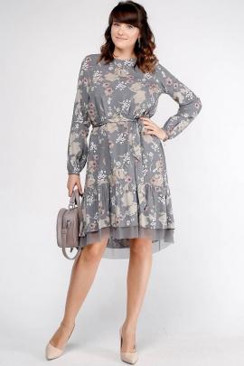 Платье La rouge 5266 серый-(цветы)