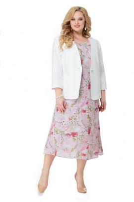 Жакет, Платье Мишель стиль 960 розовый+цветы