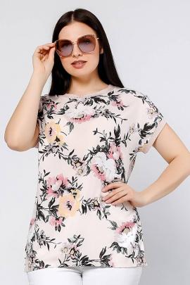 Блуза La rouge 6154 карамельный-(цветы)