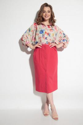 Платье Michel chic 2055 розовый+цветы