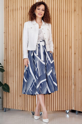 Юбка, Куртка Мода Юрс 2400 белый-синий