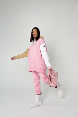 Худи Rawwwr clothing 127-начес розовый-белый-бежевый