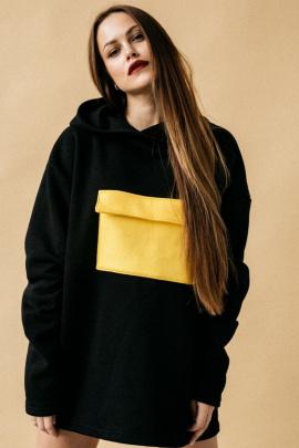 Худи Rawwwr clothing 040-начес черный/желтый